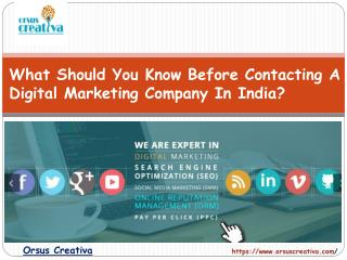 What Should You Know Before Contacting A Digital Marketing Company In India?