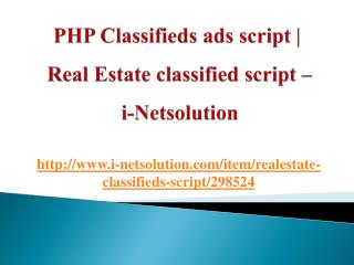 PHP Classifieds ads script | Real Estate classified script – i-Netsolution