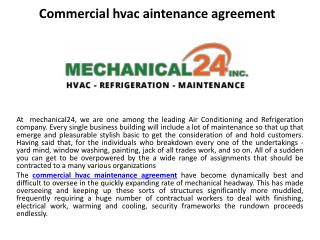 Commercial hvac maintenance agreement