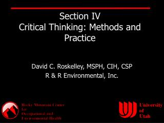 Section IV Critical Thinking: Methods and Practice