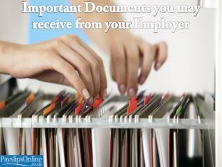 Important Documents you may Receive from your Employer