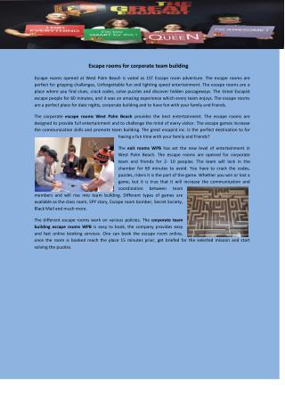 corporate team building escape rooms WPB