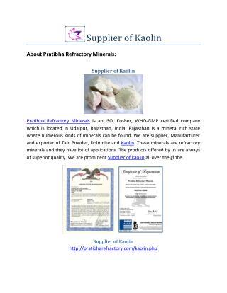 Supplier of Kaolin-Best Price