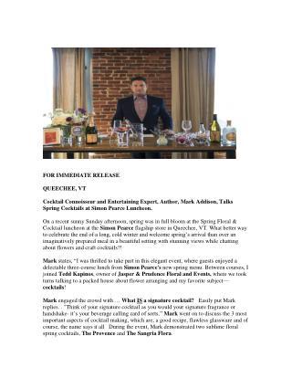 Mark Addison-Cocktail Connoisseur, Entertaining Expert and Author