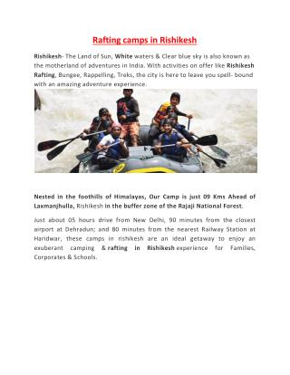 River Rafting in Rishikesh & Aspen Camp