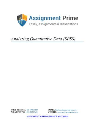 Assignment Sample: Analyzing Quantitative Data (SPSS)