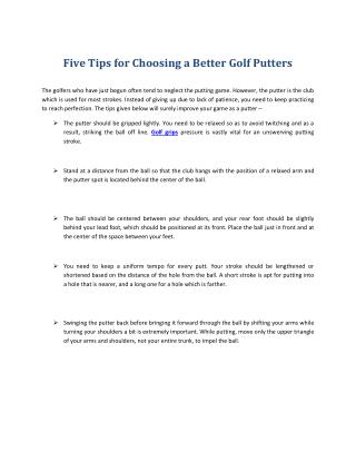 Select Better Golf Putters and Grips