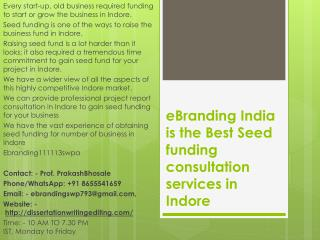 eBranding India is the Best Seed funding consultation services in Indore