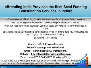 eBranding India Provides the Best Seed Funding Consultation Services In Indore