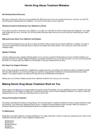 Heroin Drug Abuse Treatment Mistakes