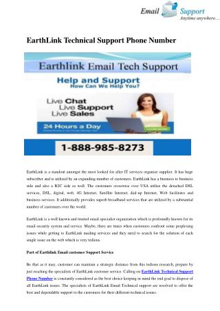 EarthLink Customer Service USA 1-888-985-8273