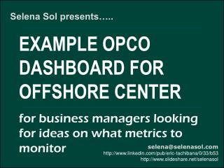 Sample dashboard for offshore location management