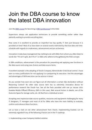 Join the DBA course to know the latest DBA innovation