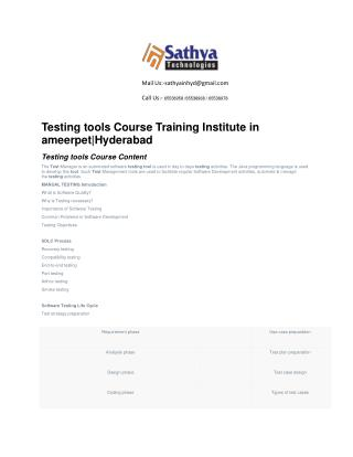 Testing Tools course training institute ameerpet hyderabad – Best software training institute