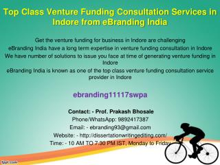 82 Top Class Venture Funding Consultation Services in Indore from eBranding India
