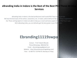 eBranding India in Indore is the Best of the Best PhD Thesis Writing Services