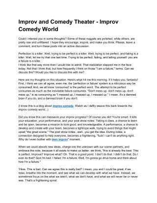 Improv and Comedy Theater - Improv Comedy World