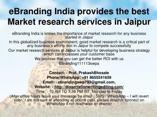 eBranding India provides the best Market research services in Jaipur