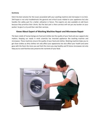Know About Expert of Washing Machine Repair and Microwave Repair
