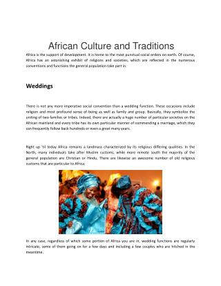 African Culture and traditions