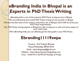 eBranding India in Bhopal is an Experts in PhD Thesis Writing