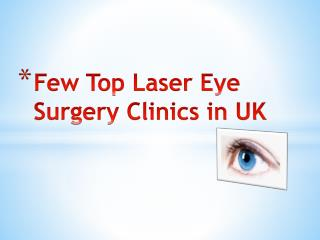 Top Laser Eye Surgery Clinics in UK