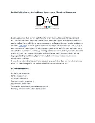 DAD is iPad Evaluation App for Human Resource and Educational Assessment
