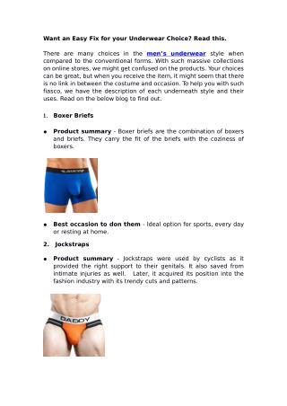 Want an Easy Fix for your Underwear Choice? Read this
