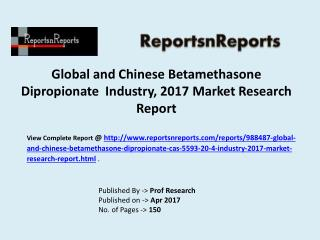 Betamethasone Dipropionate Industry in-depth insight of 2012-2022 for Global and Chinese Markets
