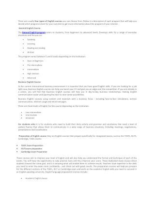 General English Course- Explore English