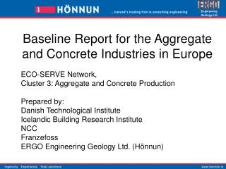 Baseline Report for the Aggregate and Concrete Industries in Europe