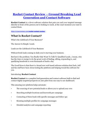 Rocket Contact review in detail and (FREE) $21400 bonus