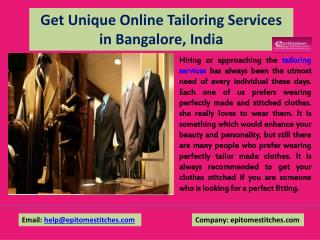Get Unique Online Tailoring Services in Bangalore, India