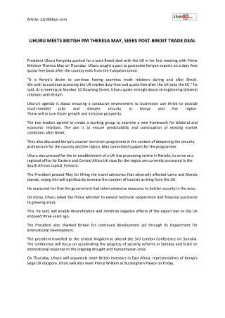 UHURU MEETS BRITISH PM THERESA MAY, SEEKS POST-BREXIT TRADE DEAL