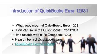 Introduction QuickBooks Error 12031