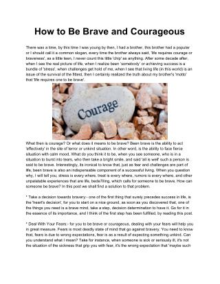 How to Be Brave and Courageous