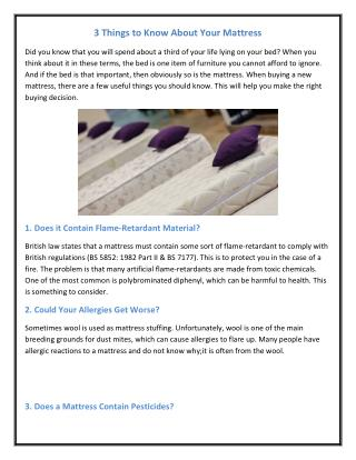 3 Things to Know About Your Mattress