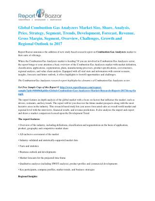 Combustion Gas Analyzers Market - Global Industry Analysis, Size, Share, Growth and Forecast Report To 2017