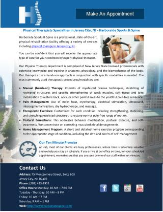 Physical Therapists Specialties in Jersey City, NJ - Harborside Sports & Spine