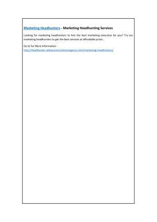 Marketing Headhunters - Marketing Headhunting Services