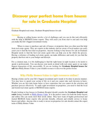 Discover your perfect home from houses for sale in Graduate Hospital