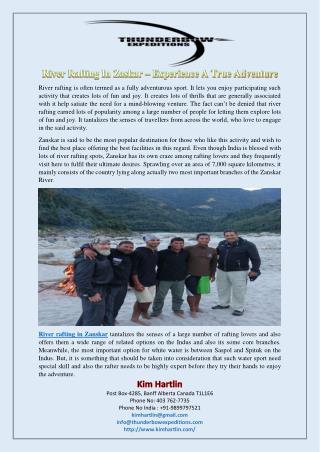 River Rafting In Zaskar – Experience A True Adventure