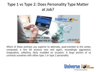 Type 1 vs Type 2: Does Personality Type Matter at Job?