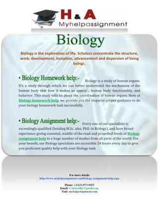 Biology homework assignment Help