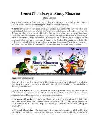 Learn Chemistry at Study Khazana