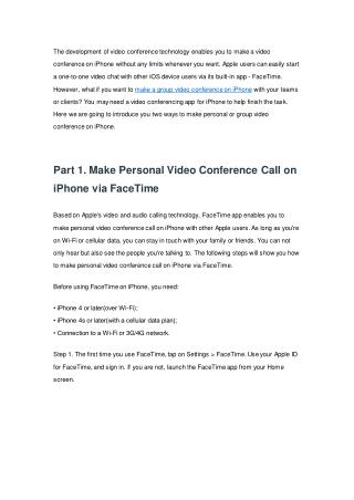 How to Make Video Conference on iPhone