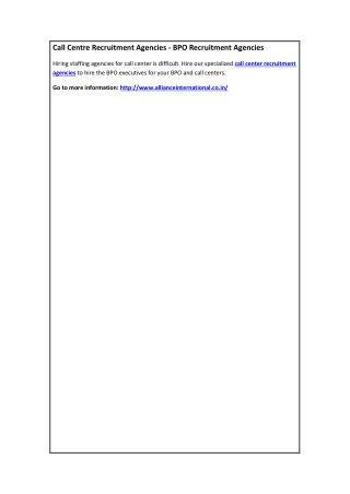 Call Centre Recruitment Agencies - BPO Recruitment Agencies