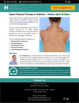 Expert Physical Therapy in Hoboken - Hudson Sport & Spine