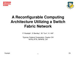 A Reconfigurable Computing Architecture Utilizing a Switch Fabric Network