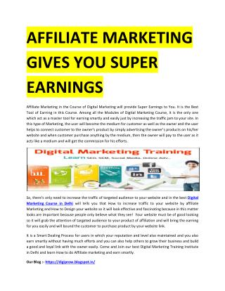 AFFILIATE MARKETING GIVES YOU SUPER EARNINGS